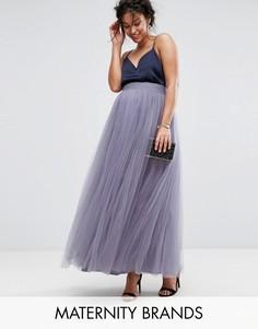 Юбка макси из тюля Little Mistress Maternity - Фиолетовый