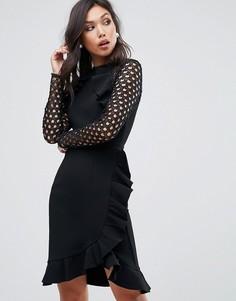 Платье с запахом и кружевной отделкой рукавов True Decadence - Черный