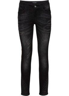 Стрейчевые джинсы с эффектом пуш-ап, украшены стразами (черный деним) Bonprix