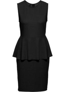 Трикотажное платье с баской (черный) Bonprix