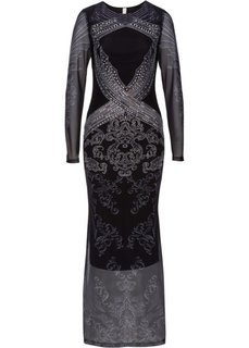 Платье со стразами (черный/серебристый с рисунком) Bonprix