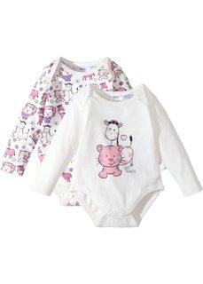 Для малышей из органического хлопка: боди с длинным рукавом (2 шт.) (цвет белой шерсти с рисунком) Bonprix