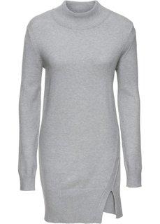 Удлиненный пуловер с разрезом (светло-серый меланж) Bonprix
