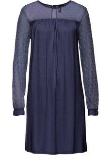 Трикотажное платье с кружевными рукавами (цвет голубики) Bonprix