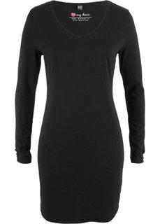 Трикотажное платье-стретч с длинным рукавом (черный) Bonprix