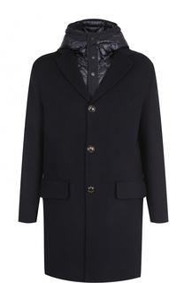 Шерстяное однобортное пальто с пуховой подстежкой Moncler