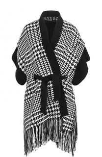 Шерстяное пальто с поясом и бахромой Balmain