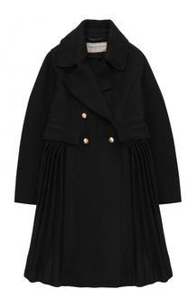 Двубортное пальто с плиссировкой Ermanno Scervino