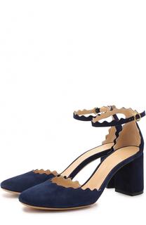 Замшевые туфли Lauren с ремешком на щиколотке Chloé