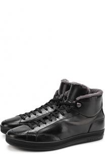 Высокие кожаные кеды на шнуровке с внутренней меховой отделкой Doucals Doucals