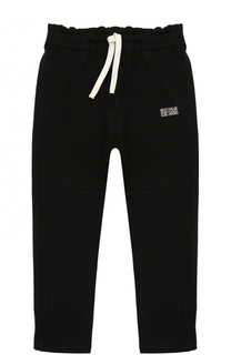 Спортивные брюки из хлопка с прострочкой и оборкой на поясе No. 21