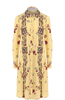 Шелковое платье-рубашка с принтом Valentino