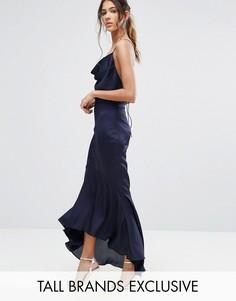 Платье миди с лямками и асимметричным подолом Jarlo Tall - Темно-синий