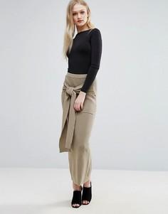 Трикотажная юбка макси в рубчик ADPT Lounge - Коричневый