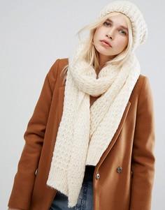 Вязаный шарф и шапка Pieces - Кремовый