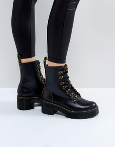Походные ботинки на шнуровке с толстой подошвой Dr Martens Leona - Черный