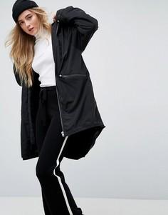 Куртка-дождевик длины миди на подкладке из искусственного меха ASOS - Черный