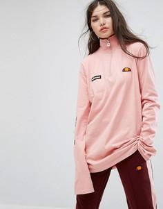 Лонгслив с воротником на молнии и логотипом на рукаве Ellesse - Розовый