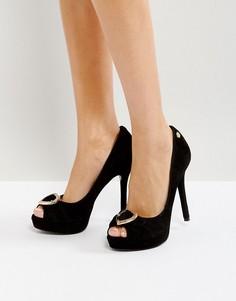 Туфли на платформе с открытым носком Love Moschino - Черный