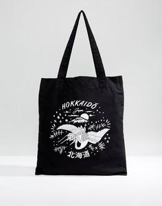 Чернaя сумка-тоут с принтом в японском стиле ASOS - Черный