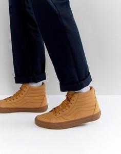 Светло-коричневые высокие кроссовки Vans Sk8 VA2XSBOTS - Рыжий