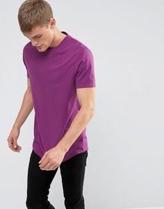 Длинная футболка с круглым вырезом и закругленным краем ASOS - Фиолетовый