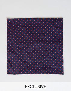 Платок для пиджака с мелким геометрическим принтом Heart & Dagger - Темно-синий
