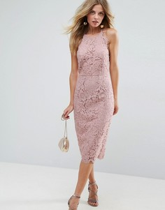Кружевное платье-футляр миди с фактурной отделкой по краю ASOS - Розовый