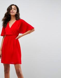 Платье мини с рукавами клеш ASOS - Красный