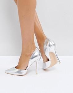 Серебристые туфли-лодочки на каблуке Glamorous - Серебряный