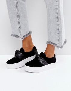 Туфли-слипоны на платформе с бантом Pieces - Черный