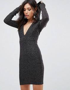 Блестящее облегающее платье с глубоким вырезом и капюшоном Club L - Серебряный