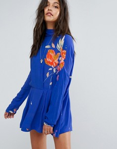 Платье-туника с высоким вырезом Free People - Синий