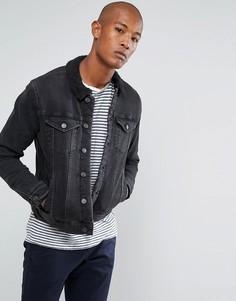 Джинсовая куртка с подкладкой из пушистого флиса Selected Homme - Черный