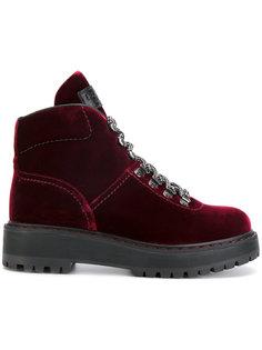 бархатные ботинки на шнуровке Prada