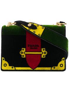 бархатная сумка на плечо с вышивкой Prada