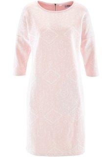 Трикотажное платье с рукавом 3/4 (цвет белой шерсти/нежно-розовый с узором) Bonprix