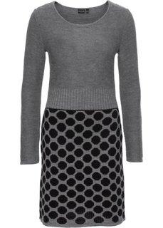 Вязаное платье в горох (черный/серый с узором) Bonprix
