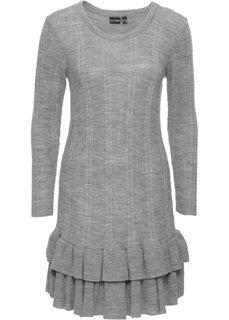 Вязаное платье с воланами (серый меланж) Bonprix