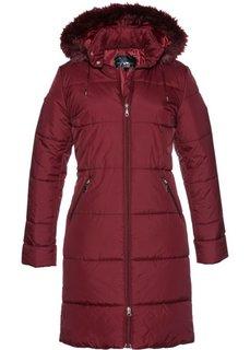 Стеганое пальто с капюшоном, отделанным искусственным мехом (красный каштан) Bonprix