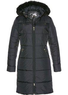 Стеганое пальто с капюшоном, отделанным искусственным мехом (черный) Bonprix