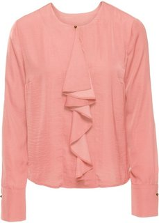 Сатиновая блузка с воланом (персиковый) Bonprix
