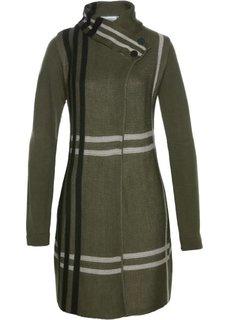 Вязаное пальто (темно-оливковый в клетку) Bonprix
