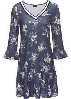 Трикотажное платье с воланами и деталями в резинку (темно-синий в цветочек) Bonprix