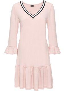 Трикотажное платье с воланами и деталями в резинку (розовый) Bonprix