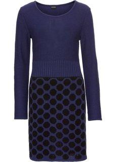 Вязаное платье в горох (черный/синий с узором) Bonprix