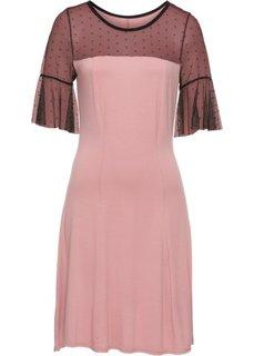 Трикотажное платье с сетчатой вставкой в горошек (винтажно-розовый/черный) Bonprix