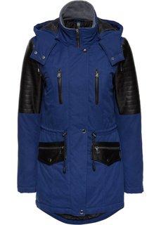 Куртка-парка со вставками из искусственной кожи (ночная синь/черный) Bonprix