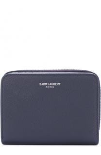 Кожаный кошелек на молнии с отделениями для кредитных карт Saint Laurent