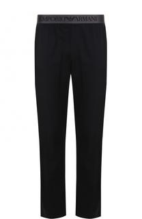 Хлопковые домашние брюки с поясом на резинке Emporio Armani